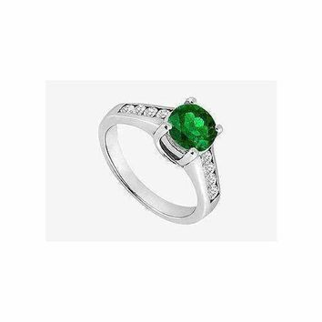 Emerald prong set Engagement Ring with channel set CZ in 14K White Gold 1.40 Carat TGW