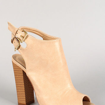 Liliana Double Buckle Leatherette Peep Toe Mule Bootie