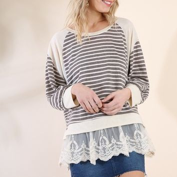 Umgee Tunic with Lace Trim