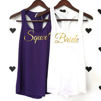 Bridal bachelorette party shirts Purple wedding tank tops Squad Racerback Purple tank top Squad wedding party shirts Bridal party shirts