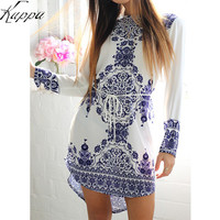 Chinese National Style Blue And White Porcelain Pattern Women Straight Dresses Long Sleeve Summer Girls Casual Dress Vestidos -0331
