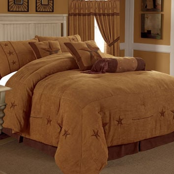 Rustic Camel Brown Gold Texas Star Western Star Luxury Comforter - 7 Pieces Set
