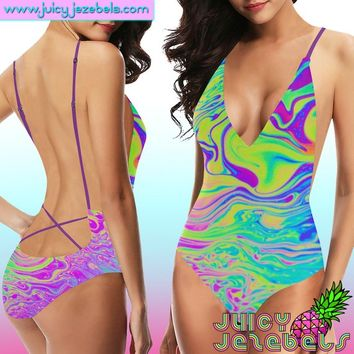 ACID OIL SLICK Sexy Ibiza Rave Outfit Rave Bodysuit Women Psychedelic Festival Clothing Rave Clothing Thong Bodysuit Festival Bodysuit