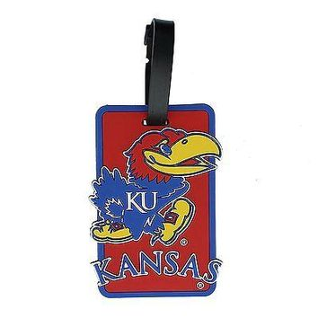 KU Kansas Jayhawks Travel Bag Tag ID Luggage Tag Team Colors