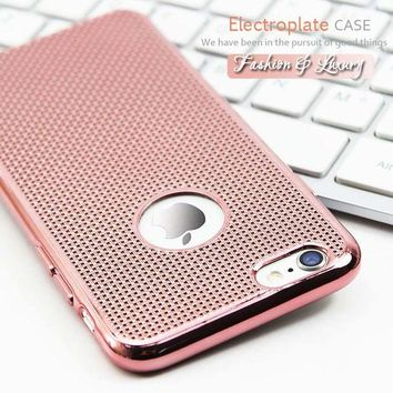 DCCKHY9 4.7/5.5 Ultra Thin Luxury Rose Gold Plating Phone Cases For iPhone 6 Case Grid Dissipate Heat Soft TPU Cover For iPhone6 6S Plus