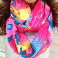 Hot Pink Aztec Infinity Scarf