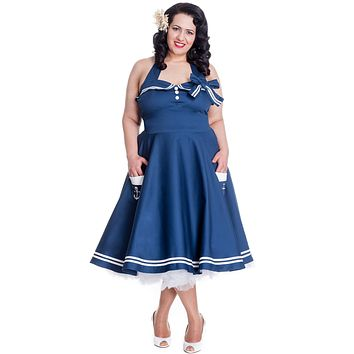 Hell Bunny Plus size 60's Pinup Vintage Halter Dark Navy Sailor Swing Dress