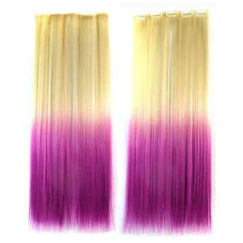 Wig Dyed Gradient Ramp Hair Extension   beige to violet