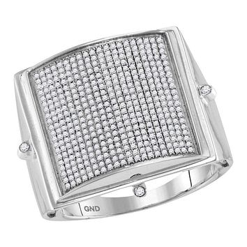 10kt White Gold Men's Round Pave-set Diamond Square Dome Cluster Ring 7/8 Cttw - FREE Shipping (US/CAN)