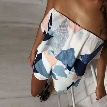 Classic Striped Cosy Tie-dyed Romper for Women