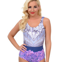 Kingdom & State Lavender Scenic Scoop Back One Piece Swimsuit