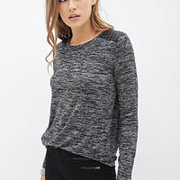 LOVE 21 Faux Leather-Paneled Sweater Black/Charcoal