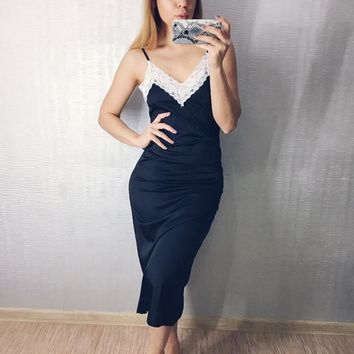Long Nightdress Lace Slip Dress Satin Sleepwear Sexy Nightgowns Artificial Silk Nightie Women's Lingerie