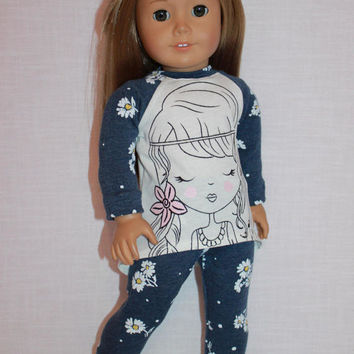 18 inch doll clothes, graphic print high low long sleeve shirt, floral print leggings, Upbeat Petites