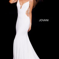 Off white long fitted plunging sides and neck spaghetti straps dress.
