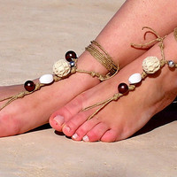 Earth tones beads Barefoot sandals. wedding sandals. hippie barefoot sandals , barefoot sandles, crochet barefoot sandals, , yoga, anklet