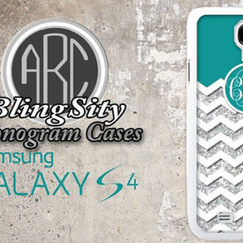 Monogram Galaxy S4 S5 Case Turquoise Chevron Glittery Personalized Note 3 4 Design Cover Shell Not Actual S3 Note 2