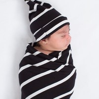 Black Striped Swaddle & Hat Set