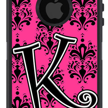 OTTERBOX DEFENDER iPhone 5 5S 5C 4/4S iPod Touch 5G Case Custom Hot Pink Damask initial - Monogram Personalized