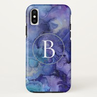 Monogram Purple Watercolor Phone Case