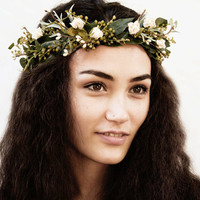 Woodland Bridal Flower Crown, Leaf, Crown, Christmas Wedding, Winter Wedding, Ivory, Rose, Rustic, Holiday Accessory, Garland, Greenery,