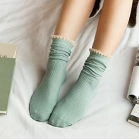 New Fashion Solid Double Needle Lace Socks Female Winter Hot Casual Cotton Socks Women Vintage Socks Sokken Calcetines Mujer 95Z