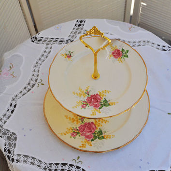 Beautiful 2 Tier Cake Stand, Vintage matching English Alfred Meakin China plates