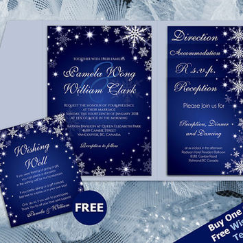 Shop royal blue wedding invitations on wanelo diy printable wedding pocket fold invitation set a7 5 x 7 editable ms word file filmwisefo Gallery