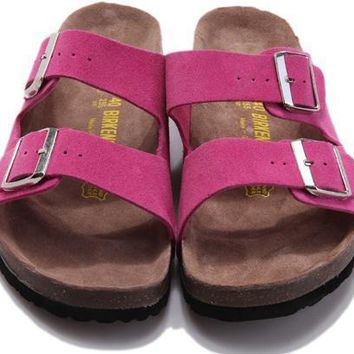 Birkenstock Leather Cork Flats Shoes Women Men Casual Sandals Shoes Soft Footbed Slippers-189