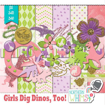 "NEW RELEASE SALE 20% off - Pink Dinosaur Digital Scrapbooking Kit – ""Girls Dig Dinos Too"" – a dinosaur scrapbook kit in pink, purple & green"