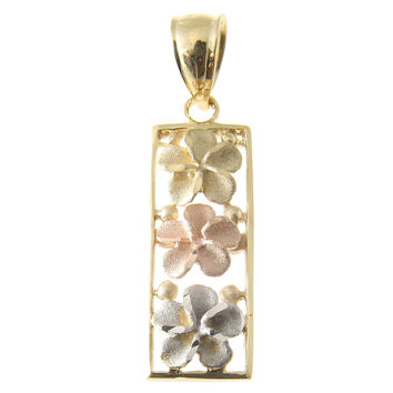 14K YELLOW ROSE WHITE TRICOLOR GOLD HAWAIIAN 3 PLUMERIA VERTICAL PENDANT 9MM