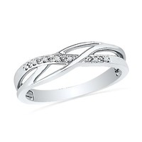 Sterling Silver Round Diamond Fashion Ring (1/20 cttw):Amazon:Jewelry