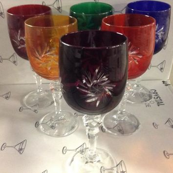 Czech Bohemia crystal cut glass - Wine glasses 170 decorated multicolor (the price is for 6 glasses)