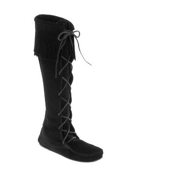 Minnetonka Knee High - Black Fringe Boot