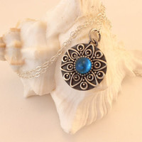 Sterling Silver and Blue Fused Glass  Necklace Pendant Sterling Silver  Chain 112