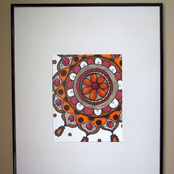 ON SALE Mandala drawing, red and orange art, colorful art, unique, original art, mandala art, red mandalas