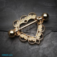Golden Heart Filigree Nipple Shield Ring
