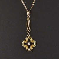Antique Gold Pearl and Diamond Lavalier Necklace