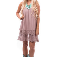 Mocha Lace Bottom Detail Cami Dress