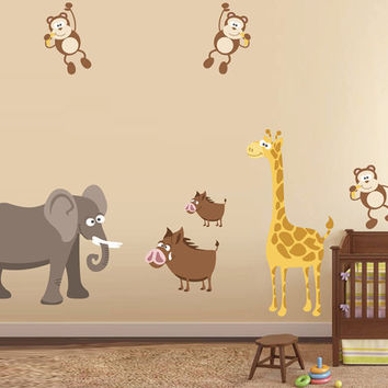 kcik1683 Full Color Wall decal bedroom children's room decor Custom Baby Nursery bed baby African animals giraffe monkey elephant
