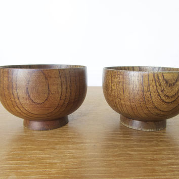 Vintage wood matcha bowl or tea bowl, smaller travel size