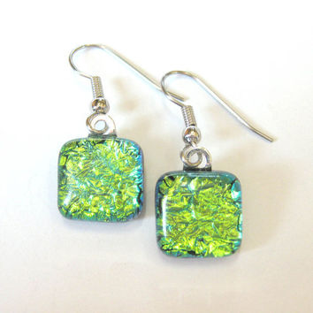 Dichroic Glass Earrings - Sparkly Green Earings - Lypple - 1459
