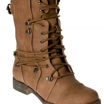 Tan Pu Wrap Over Lace Military Boots | Boots | Shoes | Desire
