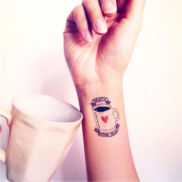 Coffee Lover Death Before Decaf  tattoo - InknArt Temporary Tattoo - wrist quote tattoo body sticker fake tattoo wedding tattoo small tattoo