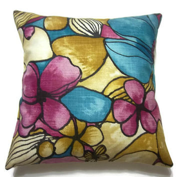 Decorative Pillow Cover Turquoise Pink Fuchsia Golden Yellow Same Fabric Front/Back Throw Accent  Modern Floral Multicolored 18 x 18 inch x