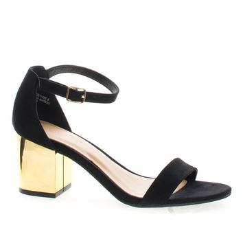 Highlight28 Black By Bamboo, Metal Plated Block Mid Heel Open Toe Sandal w Ankle Wrap Strap