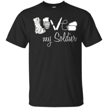 Army Mom Dad Wife Girlfriend Husband Love My Soldier T-shirt