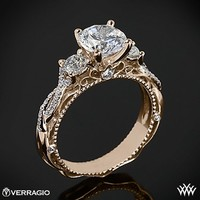 18k Rose Gold Verragio Beaded Twist 3 Stone Engagement Ring