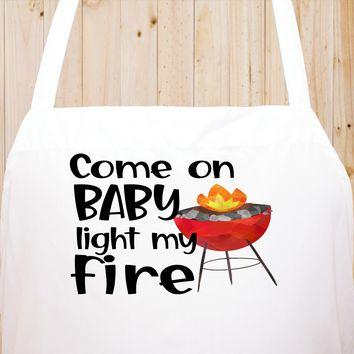 Come On Baby Light My Fire Chef's Funny Cooking Kitchen Apron , BBQ Grill, Breathable, Machine Washable