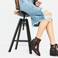 CONTRAST BUCKLE ANKLE BOOTS